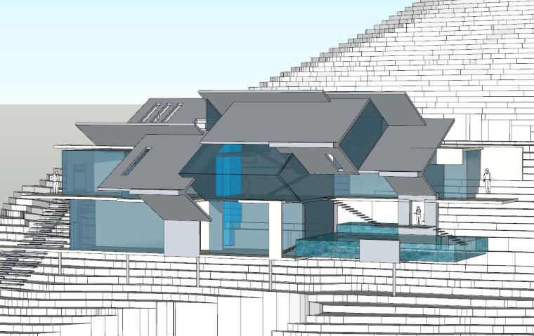 山地概念菱形建筑模型su设计