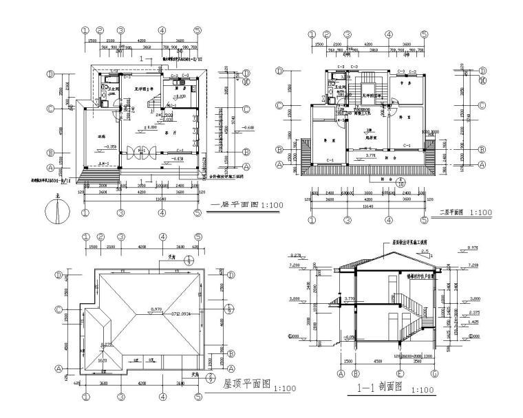 小型坡屋顶别墅砖混结构施工图(CAD)