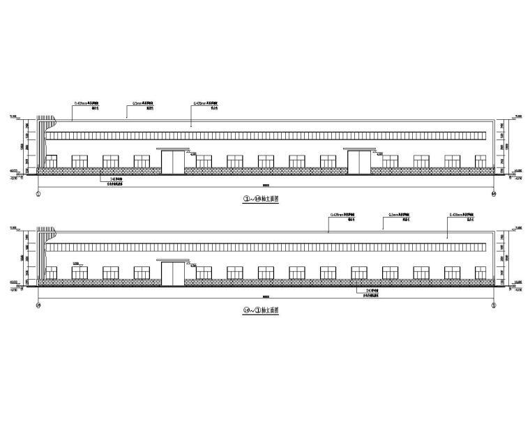 吊车双跨单层钢结构厂房结构施工图(CAD)-建筑立面图