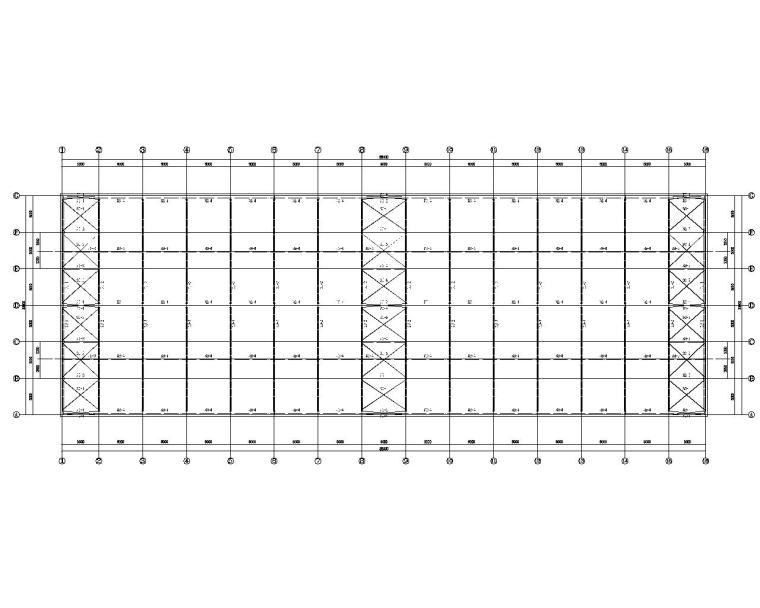 吊车双跨单层钢结构厂房结构施工图(CAD)-结构平面图
