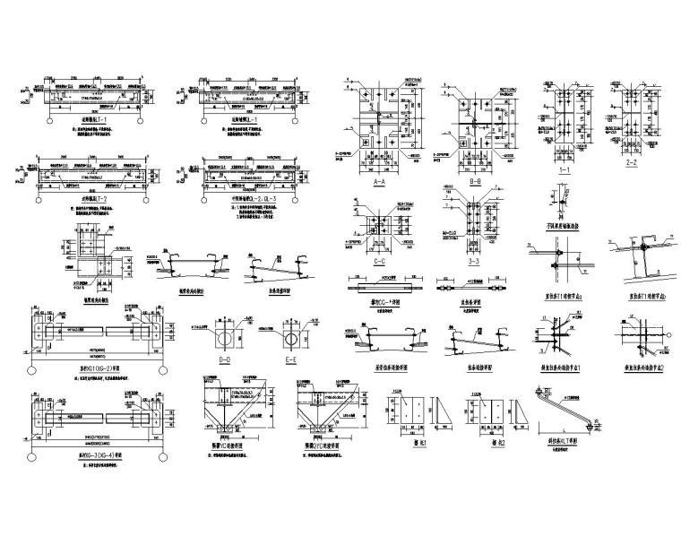 吊车双跨单层钢结构厂房结构施工图(CAD)-节点大样图