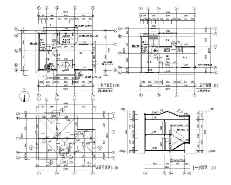 二层小型别墅砖混结构施工图(CAD)