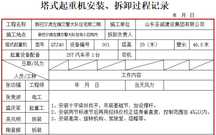 塔式起重机安装、拆卸过程记录(完毕检验)-39塔式起重机安装、拆卸过程记录