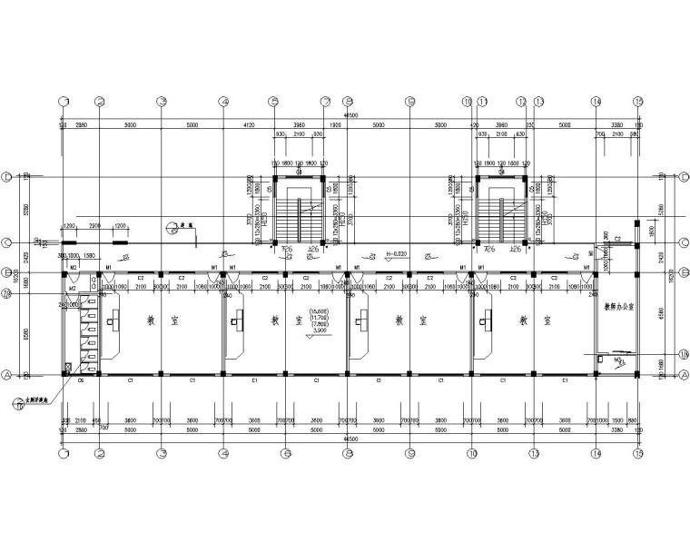 多层教学楼混凝土结构施工图(CAD含建筑)