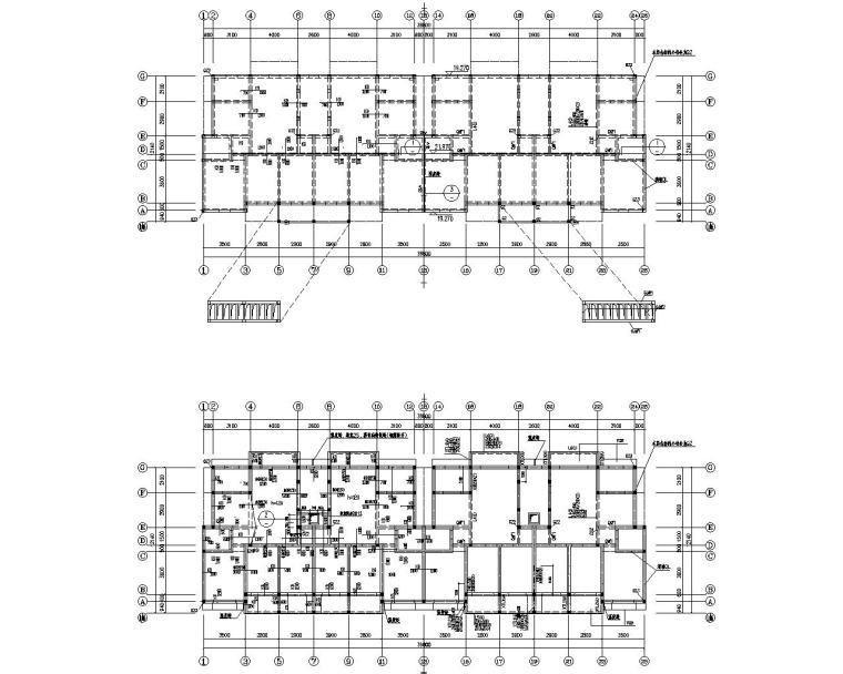 七层廉租房框架结构设计施工图(CAD)
