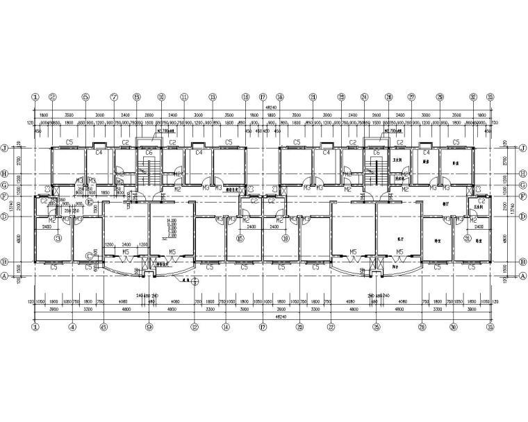 小区五层住宅砌体结构施工图(CAD含建筑)