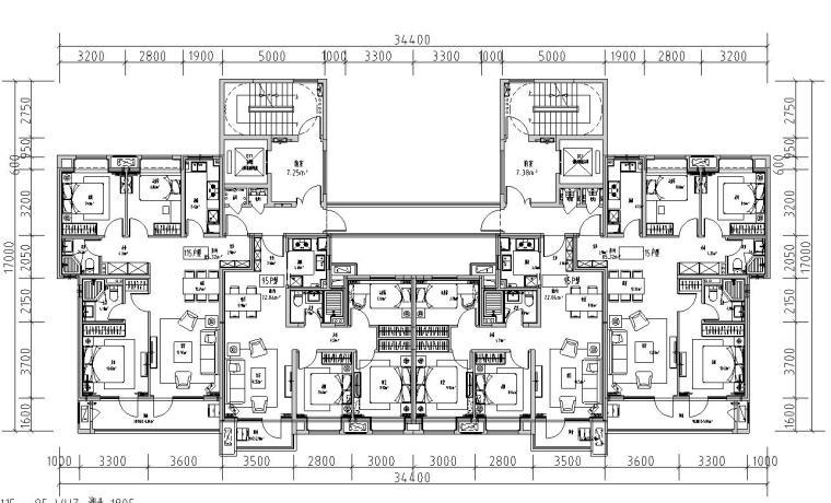 2019年外廊式百米高层标准化户型T4+T6户型
