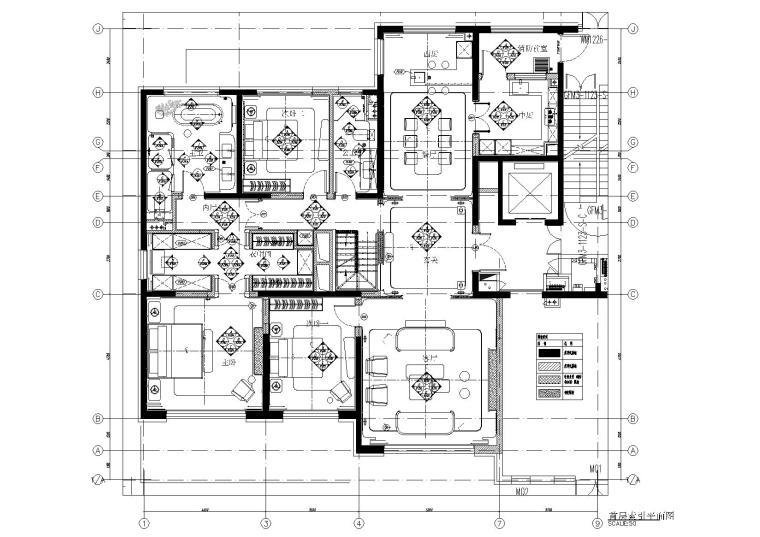 [北京]180㎡现代四居跃层样板间装修施工图-[北京]现代四居室跃层豪宅样板间施工图-一层立面索引图