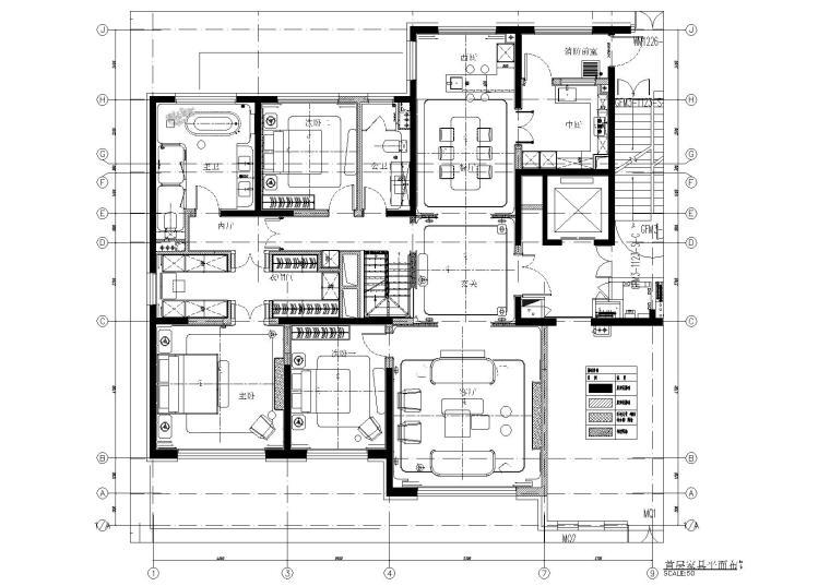 [北京]180㎡现代四居跃层样板间装修施工图-[北京]现代四居室跃层豪宅样板间施工图-一层家具平面布置图