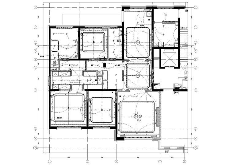 [北京]180㎡现代四居跃层样板间装修施工图-[北京]现代四居室跃层豪宅样板间施工图-一层灯具控制平面图