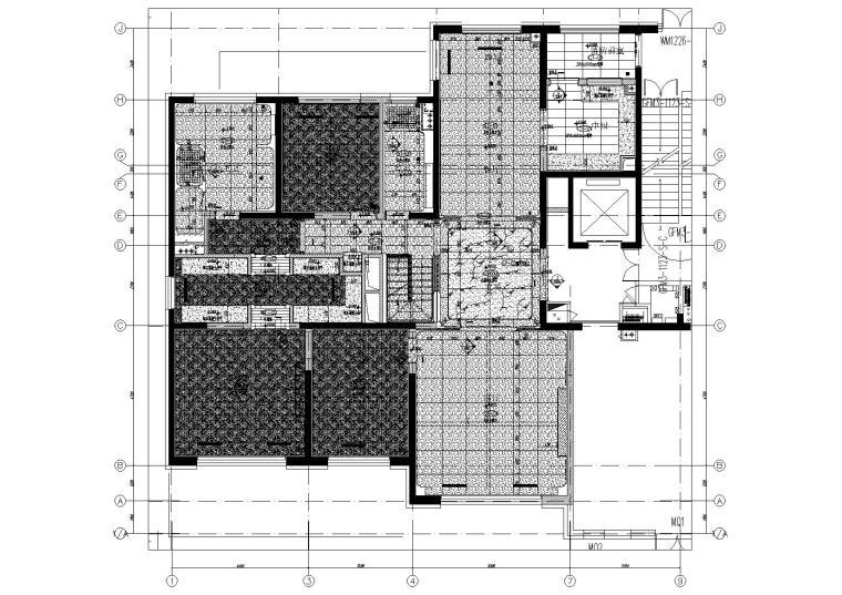 [北京]180㎡现代四居跃层样板间装修施工图-[北京]现代四居室跃层豪宅样板间施工图-一层地面铺装图