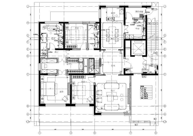 [北京]180㎡现代四居跃层样板间装修施工图-[北京]现代四居室跃层豪宅样板间施工图-一层给排水点位平面图