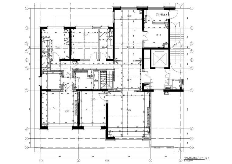 [北京]180㎡现代四居跃层样板间装修施工图-[北京]现代四居室跃层豪宅样板间施工图-一层隔墙尺寸图