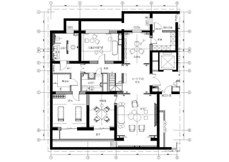 [北京]180㎡现代四居跃层样板间装修施工图-[北京]现代四居室跃层豪宅样板间施工图-地下层家具平面布置图