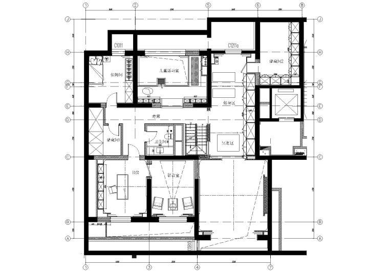 [北京]180㎡现代四居跃层样板间装修施工图-[北京]现代四居室跃层豪宅样板间施工图-夹层家具布置平面图