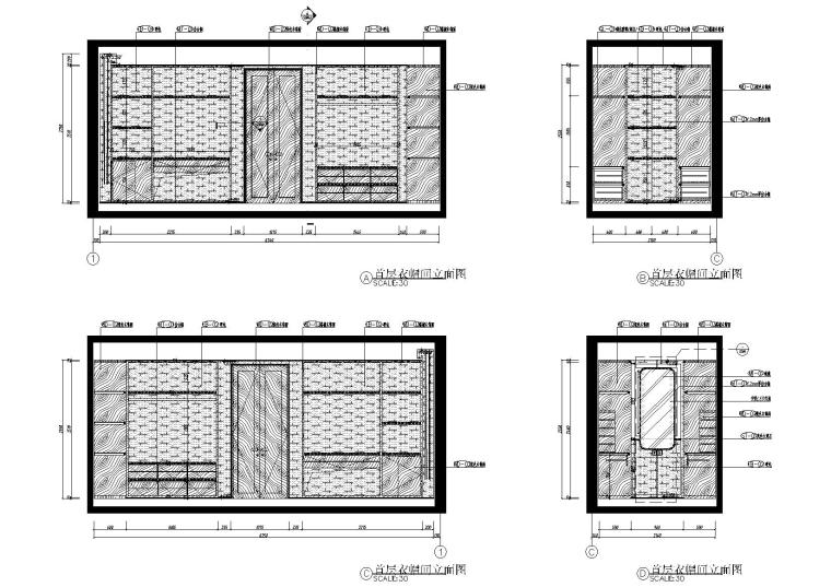 [北京]180㎡现代四居跃层样板间装修施工图-[北京]现代四居室跃层豪宅样板间施工图-首层衣帽间立面图