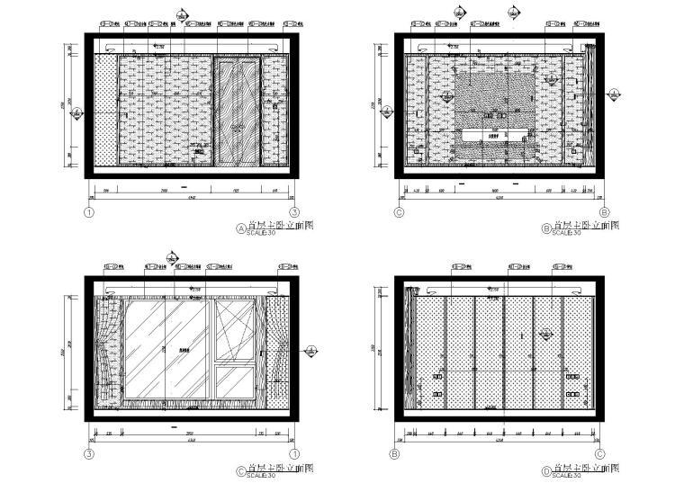 [北京]180㎡现代四居跃层样板间装修施工图-[北京]现代四居室跃层豪宅样板间施工图-首层主卧立面图