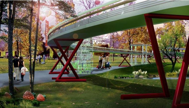 桥下空间景观效果图