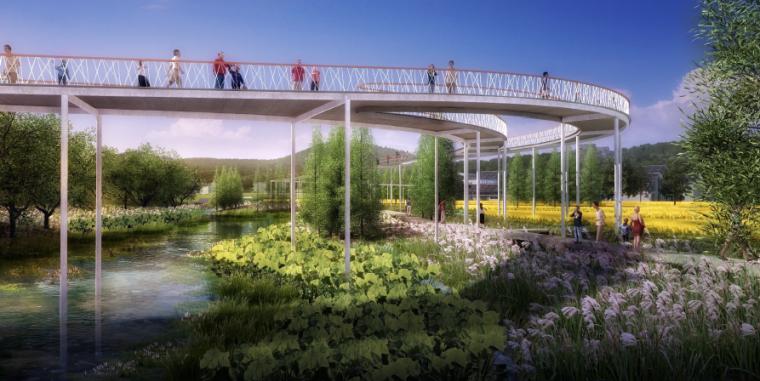 [四川]田园农耕文化湿地公园景观设计方案-高架栈桥景观效果图