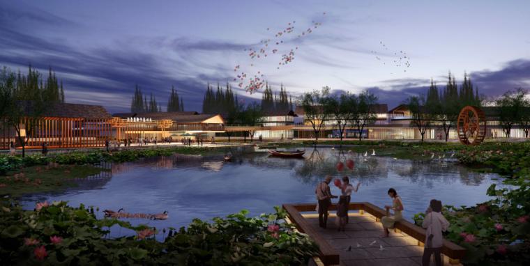 [四川]田园农耕文化湿地公园景观设计方案-旅游服务配套区效果图