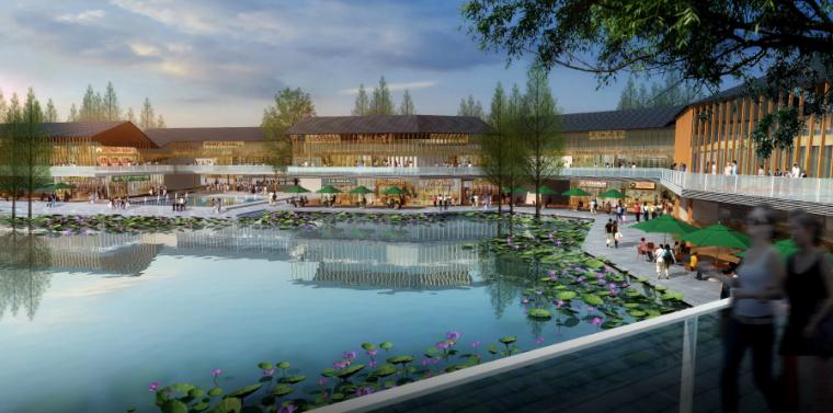 [四川]田园农耕文化湿地公园景观设计方案-水韵风情商业街效果图