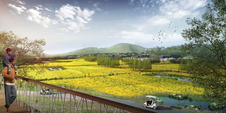 [四川]田园农耕文化湿地公园景观设计方案-田园农庄效果图