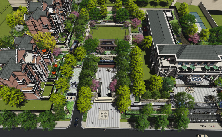 [福建]现代简约新古典风格居住区景观方案