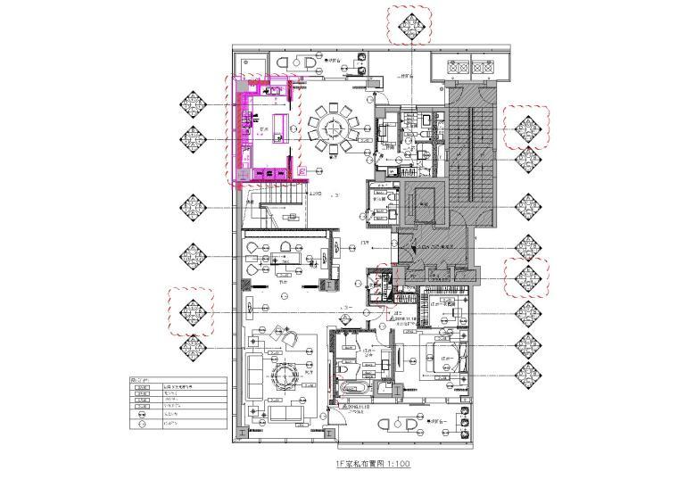 [浙江]407㎡现代四居室复式户型装修施工图-[浙江]杭州两套四居室家装样板房装修施工图-A户型一层家具布置,立面索引图