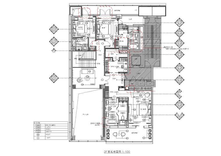 [浙江]407㎡现代四居室复式户型装修施工图-[浙江]杭州两套四居室家装样板房装修施工图-A户型二层家具布置,立面索引图