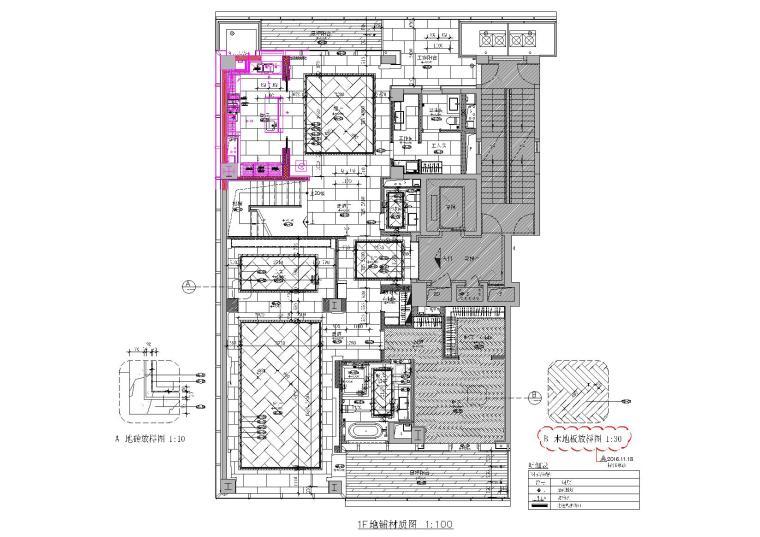 [浙江]407㎡现代四居室复式户型装修施工图-[浙江]杭州两套四居室家装样板房装修施工图-A户型一层地面铺装图