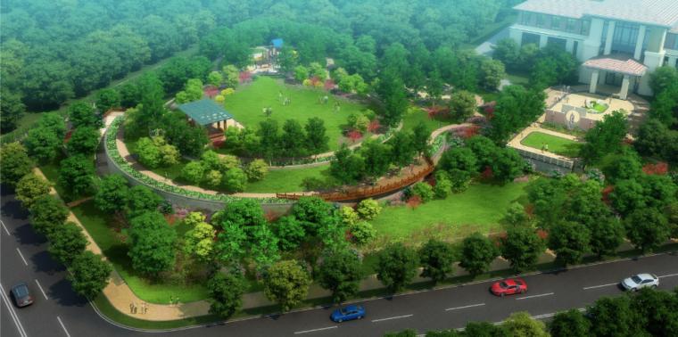 公共休闲区整体鸟瞰图