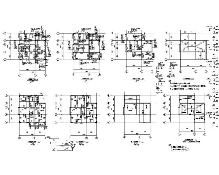 三层现代别墅框架结构施工图(CAD)