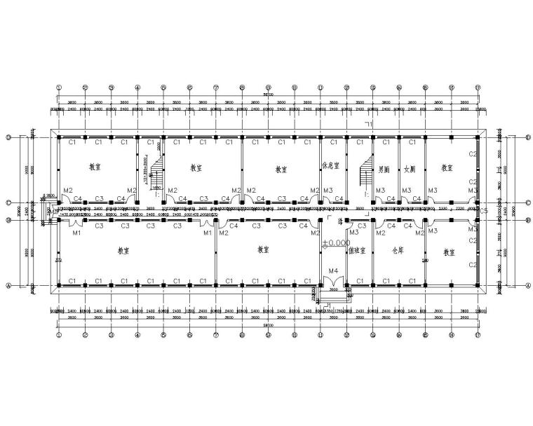 6层教学楼混凝土结构施工图(CAD含建筑图)