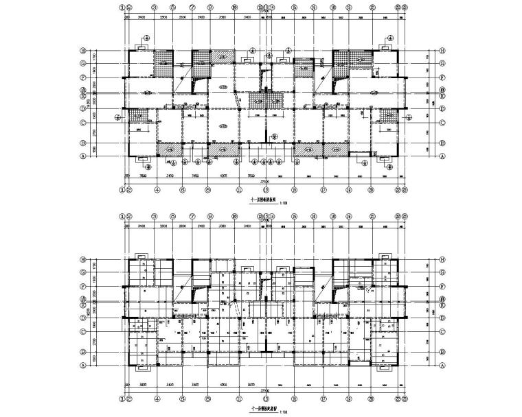 高层小区住宅楼框架结构设计施工图(CAD)