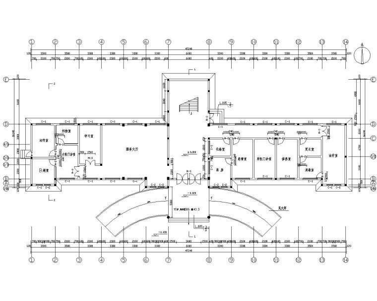 三层医院门诊砖混结构施工图(CAD含建筑)