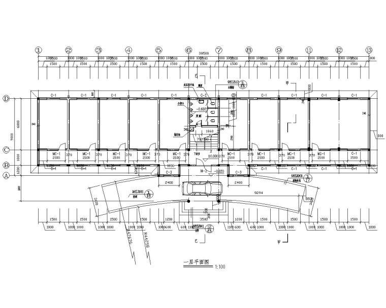 二层办公楼砖混结构设计施工图(CAD)