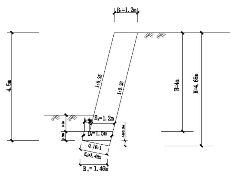 重力式仰斜式挡土墙设计