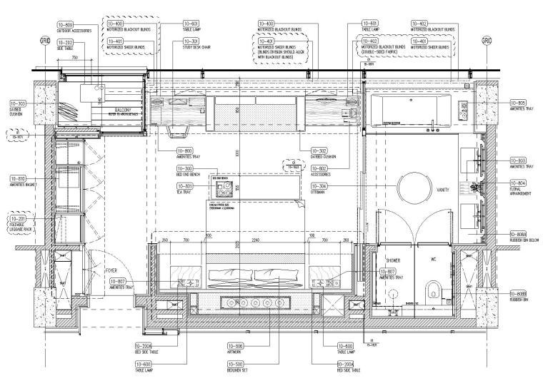 标准客房家具平面图
