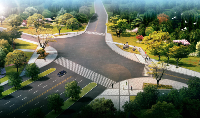 道路口景观效果图