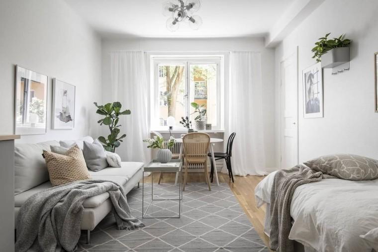 22㎡极简小公寓,精简的家效果图+JPG平面