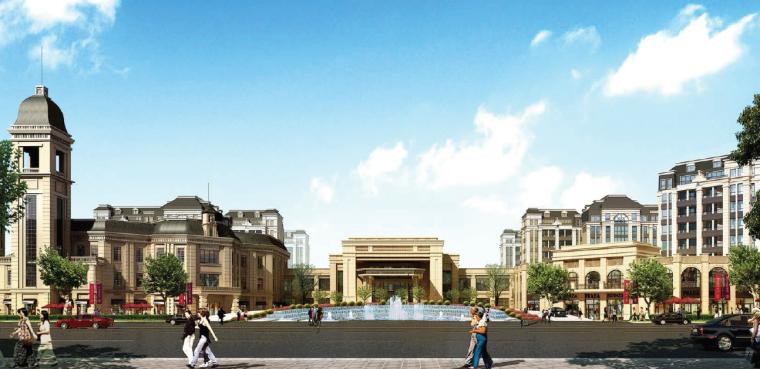 [上海]法式风格精品居住区景观设计方案-入口大堂透视图