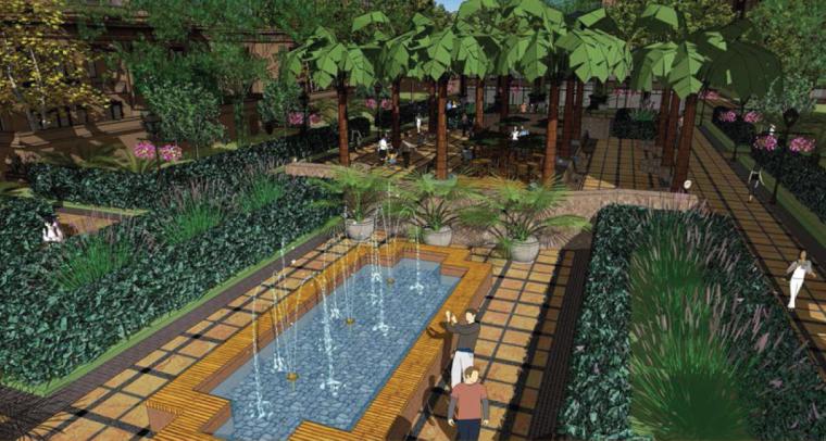 [上海]法式风格精品居住区景观设计方案-水景效果图