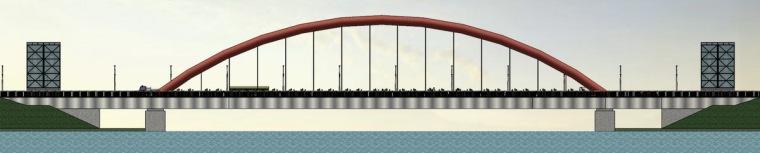 景观桥立面图
