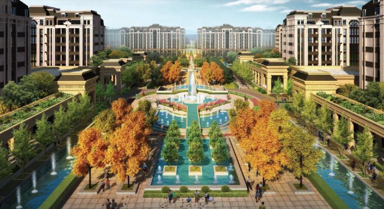 [上海]法式风格精品居住区景观设计方案-主入口景观轴鸟瞰图