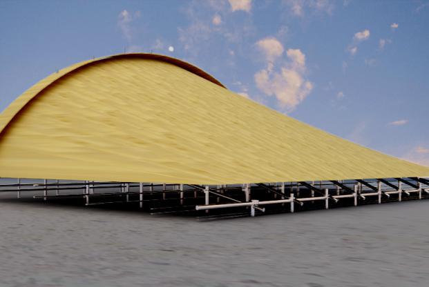 [天津]综合体育馆施工组织设计(700页)-85再次复核现场定位尺寸,并完成下一步 8铺设底模的工作