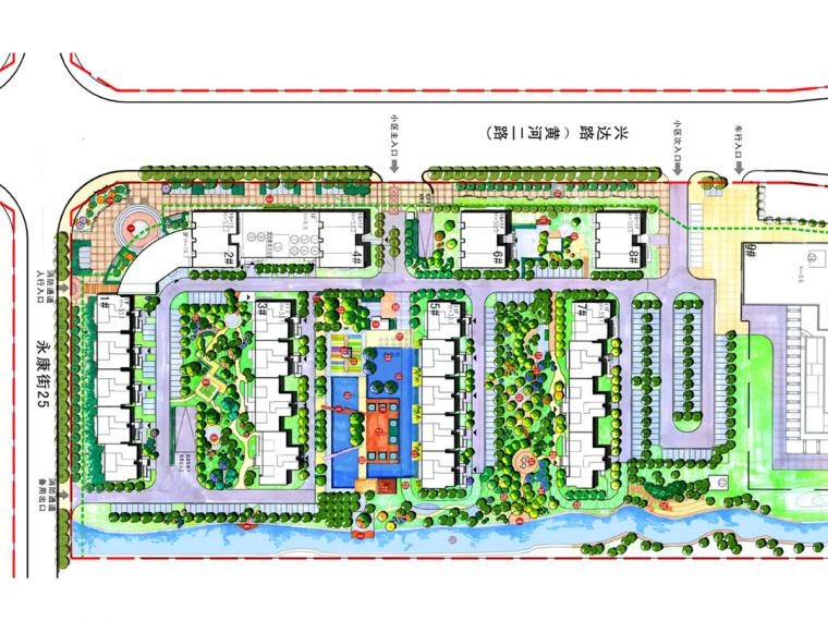 [河北]自然式简约风格居住区景观设计方案