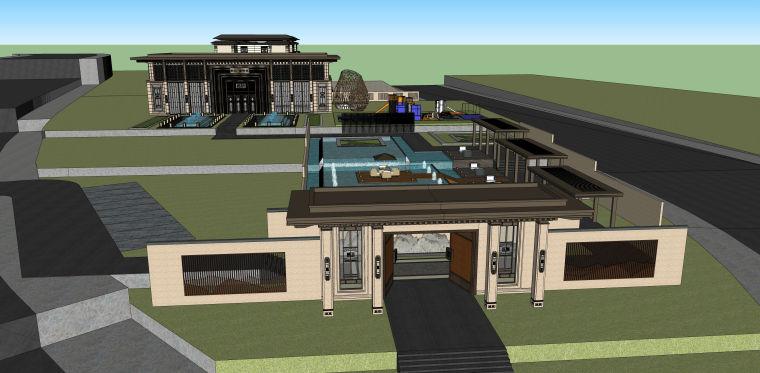 售楼处示范区+T4叠拼别墅建筑模型设计 (1)