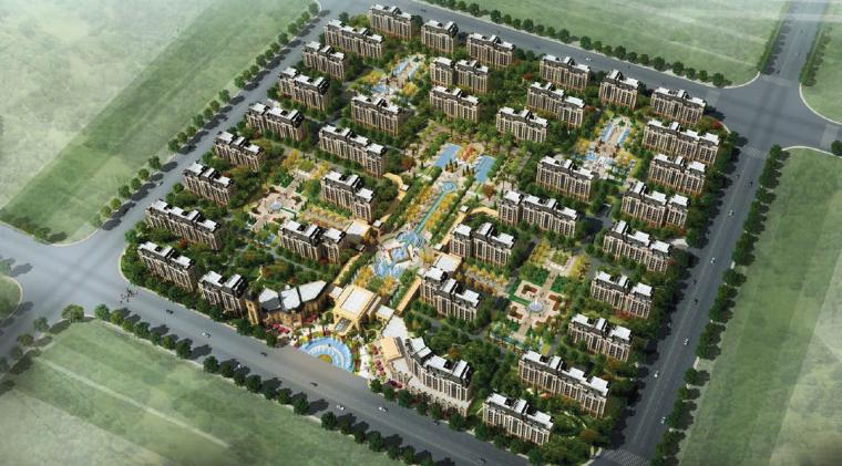 [上海]法式风格精品居住区景观设计方案-整体鸟瞰图