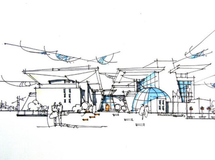 50张校园建筑手绘钢笔画练习示例