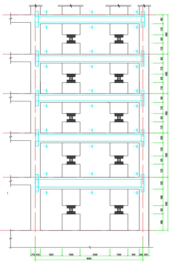 7轴阻尼器周边框架模板图